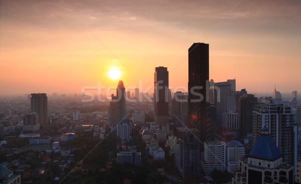 Stok fotoğraf: Panorama · Bangkok · gün · batımı · ufuk · çizgisi · Cityscape