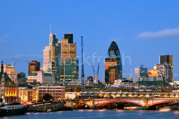 Foto stock: Londres · rascacielos · anochecer · río · thames · Inglaterra
