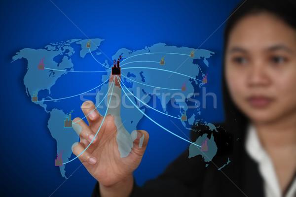 Działalności strony kontakcie faktyczny ekranu fabryki Zdjęcia stock © vichie81