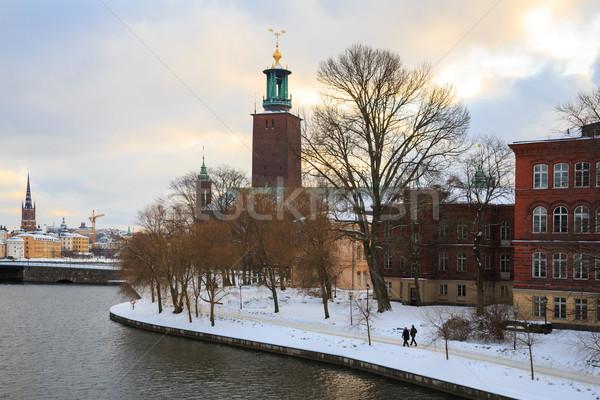 Sztokholm miasta sali zmierzch zmierzch Szwecja Zdjęcia stock © vichie81
