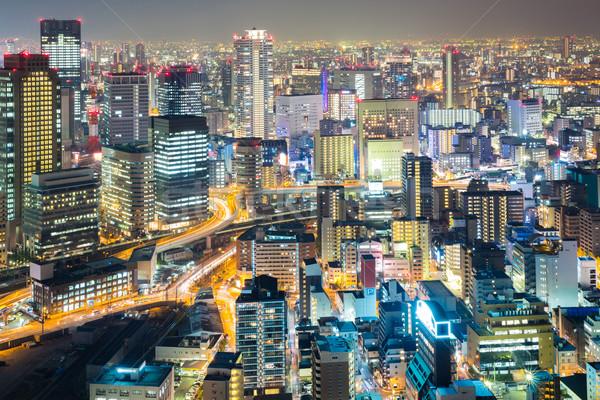 Foto stock: Osaka · noite · linha · do · horizonte · arranha-céu · edifício · Japão