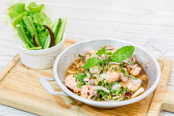 пряный лосося Салат тайский стиль Сток-фото © vichie81
