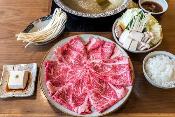Wagyu beef Shabu hot pot set Stock photo © vichie81