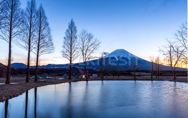 Monte Fuji nascer do sol montanha Japão paisagem inverno Foto stock © vichie81