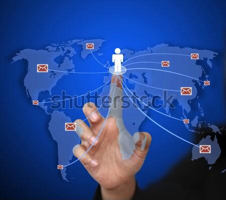 Komunikacji business woman wysłać świat działalności Zdjęcia stock © vichie81
