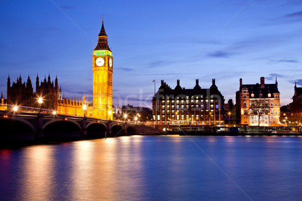 Big Ben westminster ponte panorama fiume thames Foto d'archivio © vichie81
