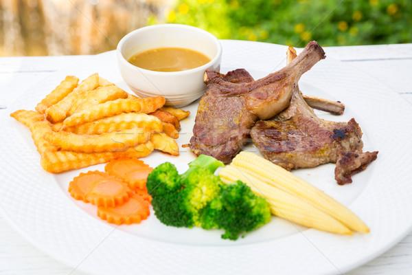 Grillezett bárány steak gurmé fő- főfogás Stock fotó © vichie81