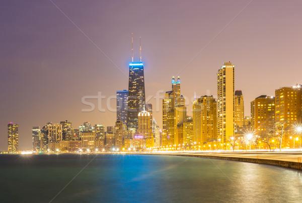 Stok fotoğraf: Chicago · akşam · karanlığı · şehir · merkezinde · göl · Michigan · Bina