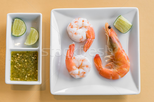 креветок морепродуктов свежие льда продовольствие Сток-фото © vichie81