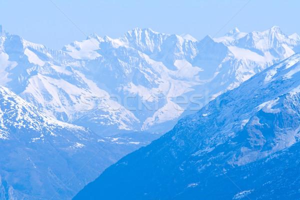 Neige montagne gamme paysage ciel bleu sport Photo stock © vichie81