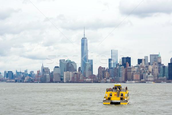Alsó Manhattan New York város sziluett városkép Stock fotó © vichie81