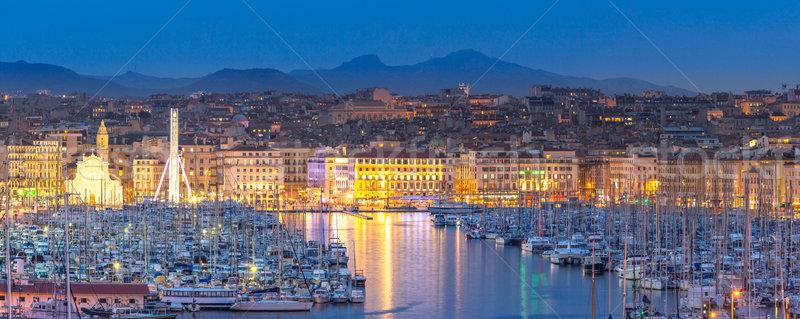 Marseille Franciaország éjszaka kikötő tenger nyár Stock fotó © vichie81