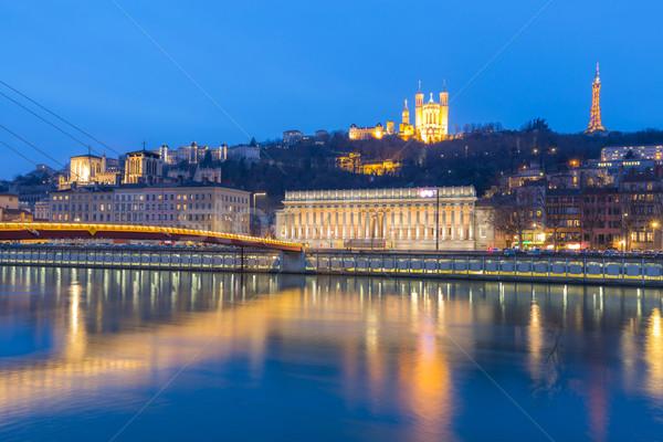 Lyon Saone river Fourviere Notre-Dame Stock photo © vichie81