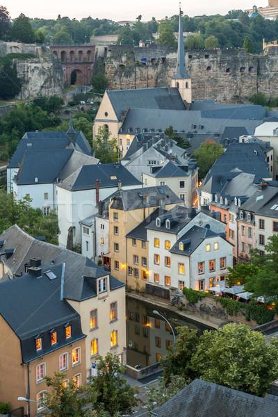 Luxemburg City Night stad zonsondergang top Stockfoto © vichie81