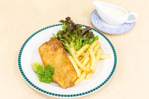 Сток-фото: рыбы · чипов · обеда · пластина · лимона · обед