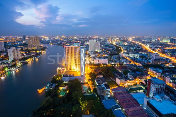 バンコク 夕暮れ タイ スカイライン 川 ストックフォト © vichie81