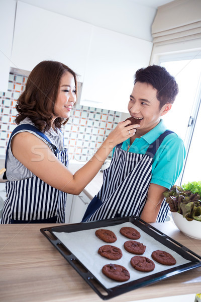 Couples in domestic kitchen with breakfast Stock photo © vichie81