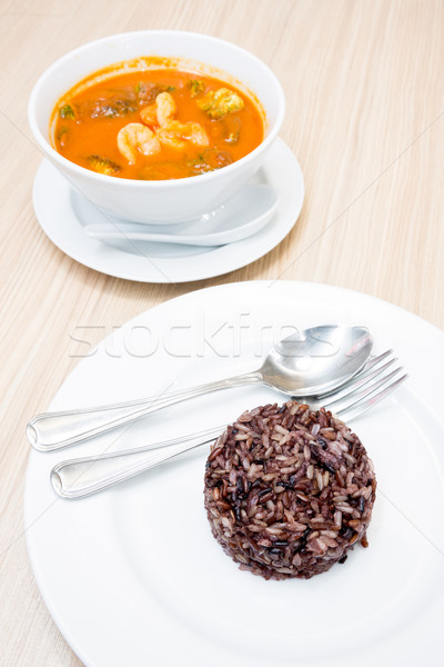 Foto stock: Caliente · agrio · sopa · marrón · arroz · blanco