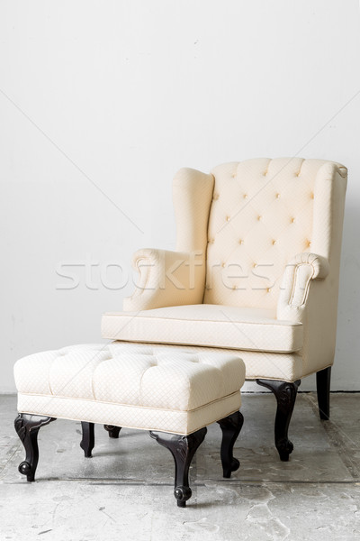 ストックフォト: ベージュ · レトロな · 椅子 · ファブリック · スタイル
