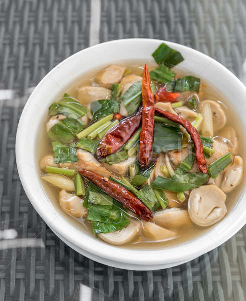 Yum zupa grzyby pikantny trawy pozostawia Zdjęcia stock © vichie81