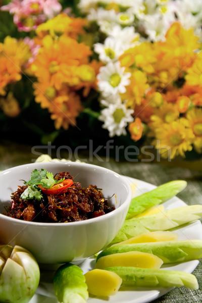 Garnalen saus chili eten groenten bloem Stockfoto © vichie81