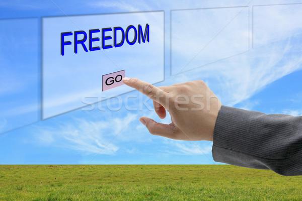 man hand push Freedom Stock photo © vichie81
