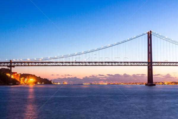 Lisbona ponte cityscape 25 ponte sospeso Foto d'archivio © vichie81