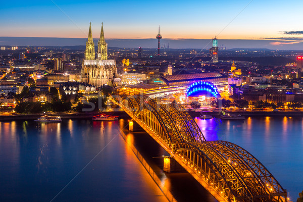Colonia catedral Alemania aéreo puente cielo Foto stock © vichie81