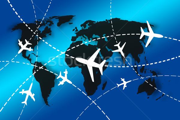 Világutazás repülőgépek körül térkép űr repülőgép Stock fotó © vichie81