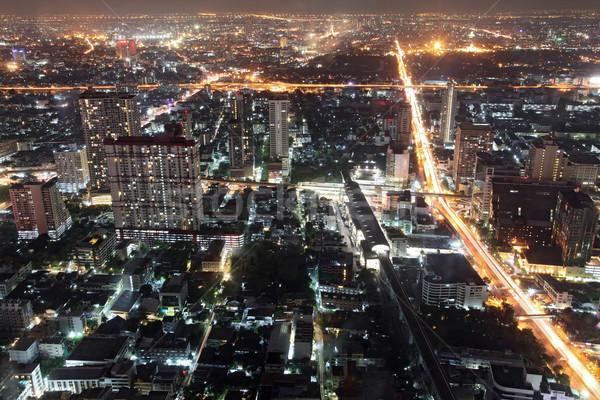 Bangkok Cityscape widok z lotu ptaka noc Tajlandia niebo Zdjęcia stock © vichie81