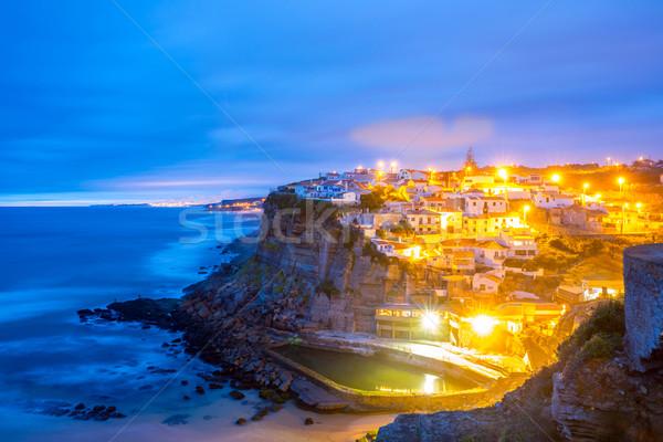 Stok fotoğraf: Köy · Portekiz · akşam · karanlığı · plaj · su · güneş