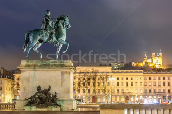 Lione luogo Francia statua re notte Foto d'archivio © vichie81