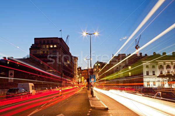 Londen stadsgezicht weg licht parcours schemering Stockfoto © vichie81