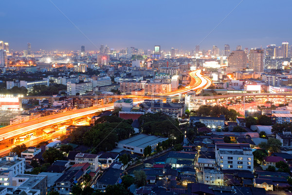 Bangkok Dämmerung Sieg Innenstadt Luftbild Büro Stock foto © vichie81