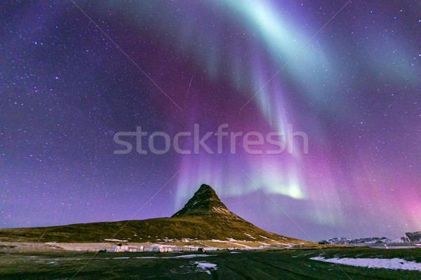 Norte luz aurora Islândia paisagem neve Foto stock © vichie81