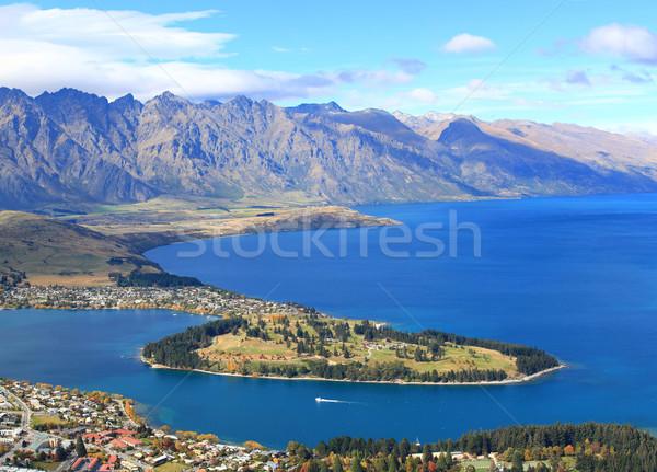 Foto d'archivio: Primo · piano · lago · campo · da · golf · giardino · isola · Neozelandese