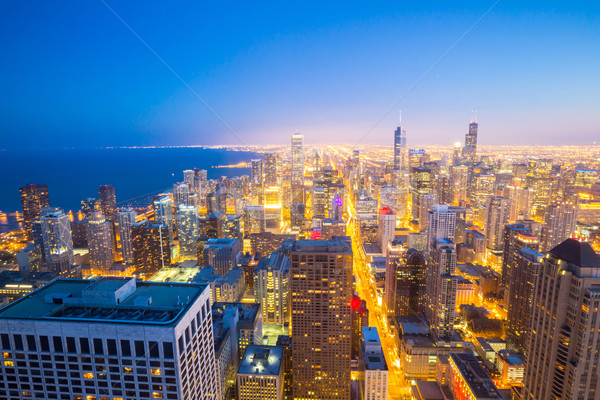 Chicago City downtown at dusk. Stock photo © vichie81