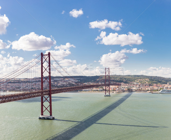 Панорама Лиссабон моста Cityscape На 25 висячий мост Сток-фото © vichie81