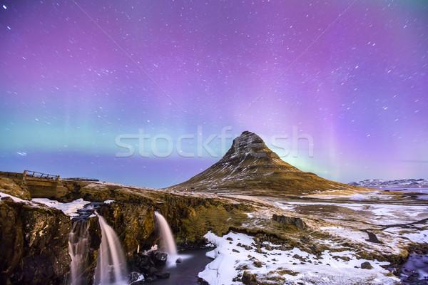 Aurora Islande nord lumière nature paysage Photo stock © vichie81