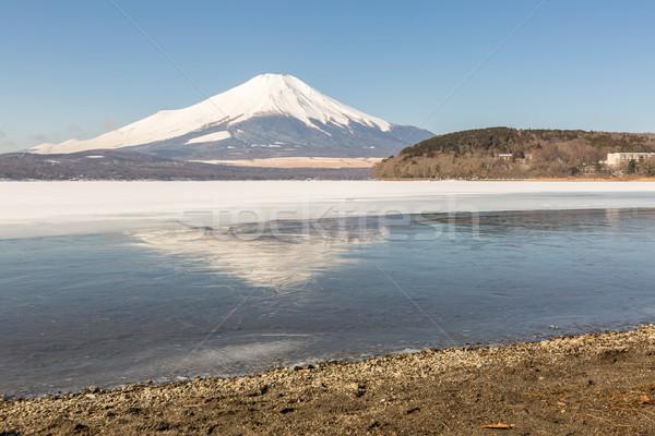 Zimą Mount Fuji jezioro refleksji śniegu Zdjęcia stock © vichie81