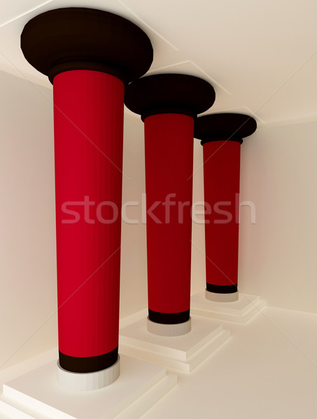perspective of three red pillars Stock photo © Victoria_Andreas