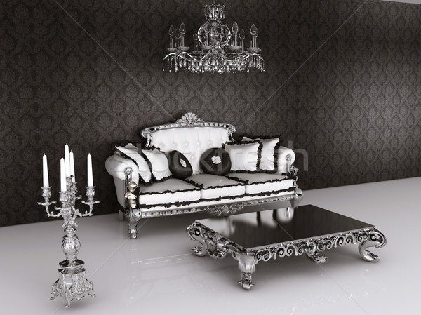 Royal furniture in Baroque interior. Sofa with pillows and table Stock photo © Victoria_Andreas