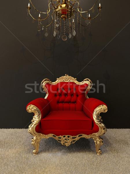 Luksusowe fotel złoty ramki królewski żyrandol Zdjęcia stock © Victoria_Andreas