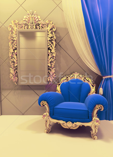 Royal  furniture in a luxurious interior, dark blue pattern Stock photo © Victoria_Andreas
