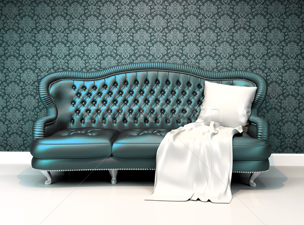 Modern leather sofa with covering  in interior room apartment wi Stock photo © Victoria_Andreas