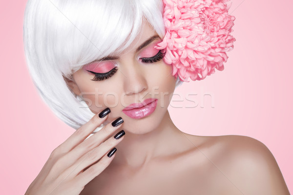 Makeup. Manicured nails. Fashion Beauty Model Girl portrait with Stock photo © Victoria_Andreas