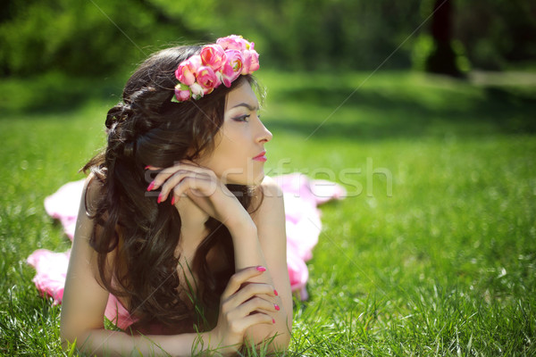 Beauty Romantic Girl Outdoors. Beautiful Teenage Model girl with Stock photo © Victoria_Andreas