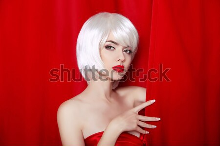 Beauty Makeup. Short hairstyle. White bob hair style. Blonde you Stock photo © Victoria_Andreas