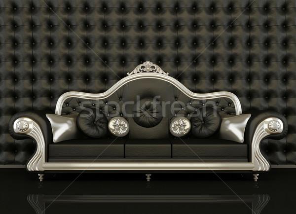 Klassiek leder sofa zilver frame zwarte Stockfoto © Victoria_Andreas