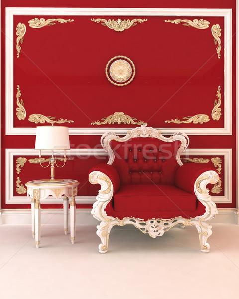 Сток-фото: роскошный · кресло · королевский · красный · интерьер · модель